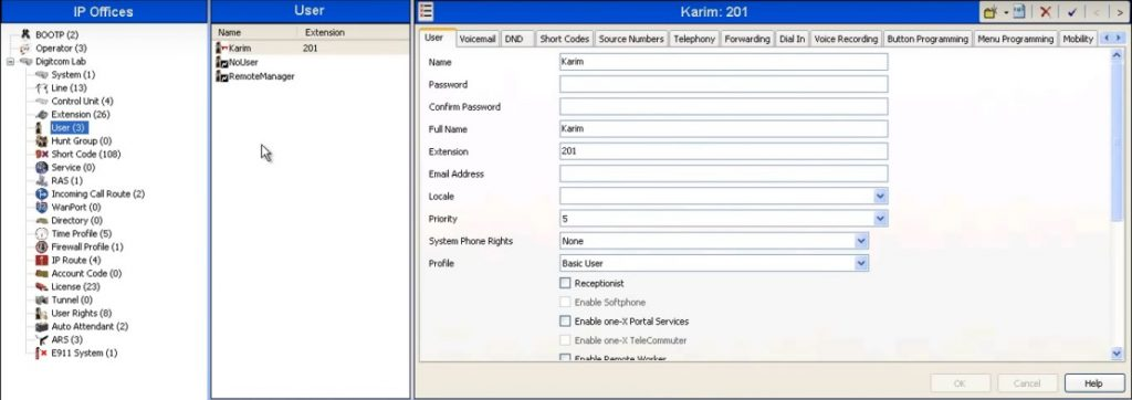 Creating a New User & Extension on Avaya IP Office